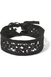 Guipure lace and grosgrain choker
