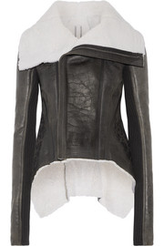 Leather-trimmed shearling biker jacket