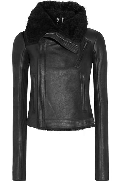 Rick Owens. Blister shearling-trimmed brushed-leather biker jacket