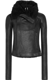 Blister shearling-trimmed brushed-leather biker jacket