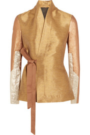 Metallic lamé and cotton blend-paneled shantung wrap jacket