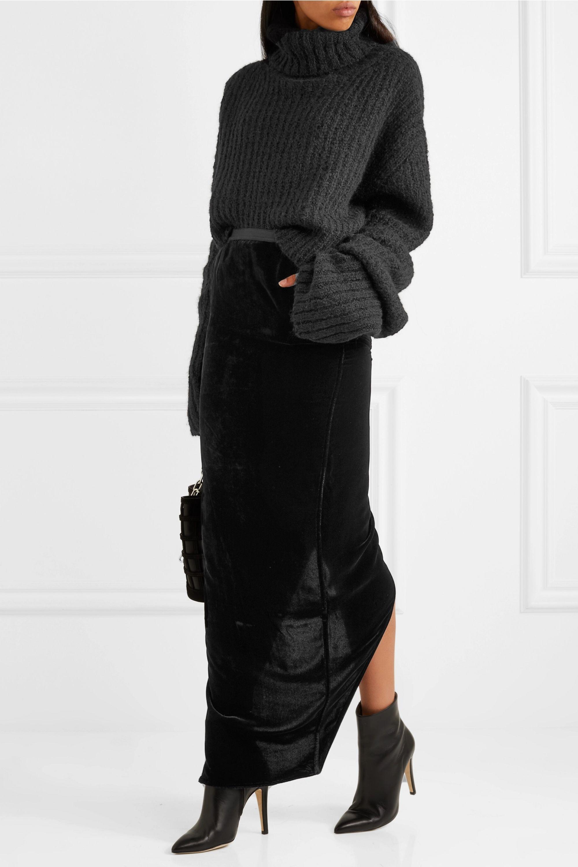 Rick Owens Illar asymmetric velvet maxi skirt