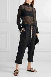 Rick Owens Cropped wool and silk-blend track pants