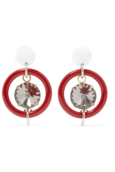 Marni - Gold And Silver-tone, Resin And Crystal Earrings - Red