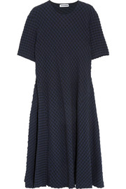Jil Sander Stretch cotton and seersucker midi dress