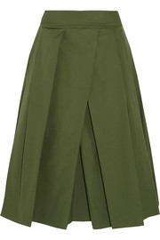 Jil Sander Pleated cotton-poplin midi skirt