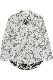Floral-print  cotton-poplin shirt