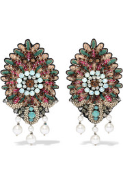 Etro Bead, crystal and faux pearl clip earrings