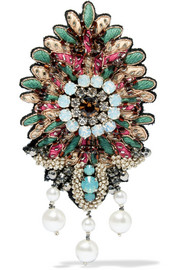 Etro Embroidered, bead, crystal and faux pearl brooch