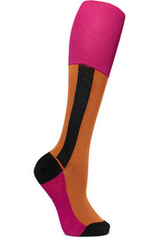 Color-block cotton-blend socks