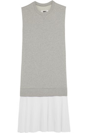 Oversized cotton-blend jersey and twill dress