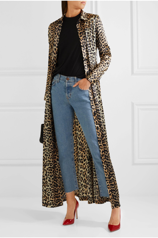 GANNI Dufort leopard-print silk-blend satin maxi dress