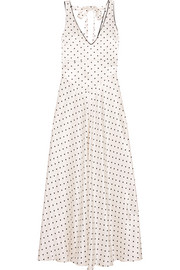 Leclair open-back polka-dot satin maxi dress