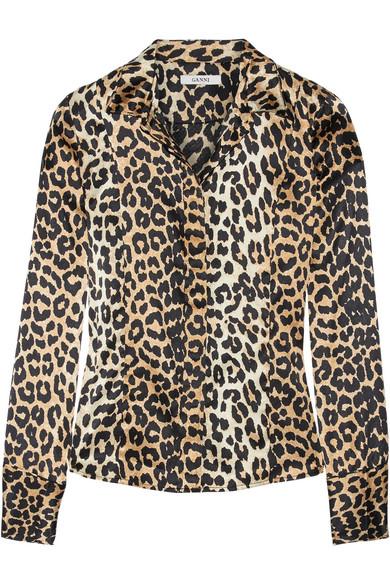 GANNI - Dufort Leopard-print Silk-blend Shirt - Leopard print