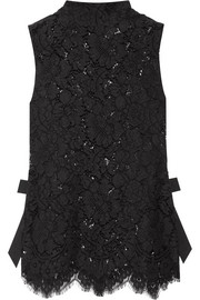 Duval grosgrain-trimmed corded lace top