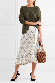 Leclair ruffled polka-dot satin midi skirt