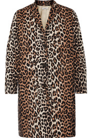 Leopard-print cotton-twill coat