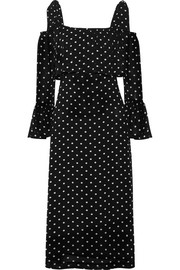 GANNI Monette cold-shoulder polka-dot georgette dress