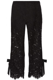 Duval cropped corded lace wide-leg pants