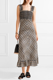 Charron checked cotton-blend seersucker maxi dress
