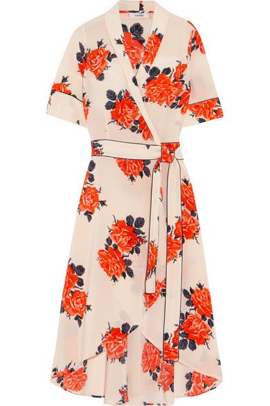 GANNI - Harness Floral-print Silk Crepe De Chine Wrap Dress - Pastel pink
