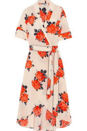 GANNI Harness floral-print silk crepe de chine wrap dress