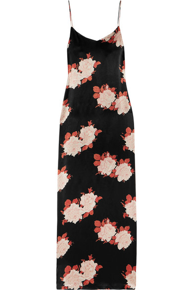 GANNI - Floral-print Satin Dress - Black