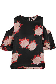 GANNI Cold-shoulder floral-print satin top
