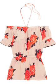 Off-the-shoulder floral-print silk crepe de chine top