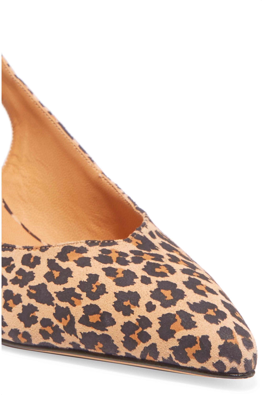 GANNI Sabine leopard-print suede slingback pumps