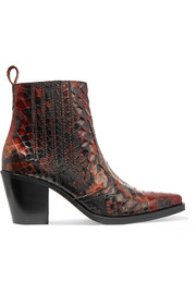 GANNI Maryse croc-effect leather ankle boots