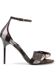 Burberry Bow-embellished checked canvas sandals