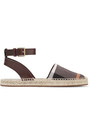 Burberry Leather-trimmed checked canvas espadrilles