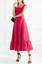 Palmer pleated stretch-crepe midi dress