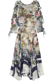 Jenna floral-print devoré silk-blend chiffon midi dress