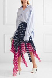 Eames asymmetric striped silk-chiffon skirt