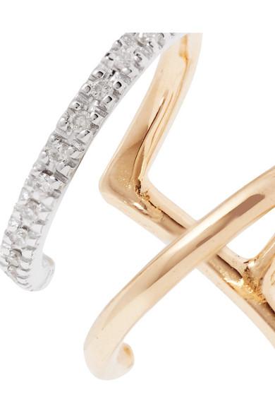 Laurel Blanc 14-karat Gold, Rhodium-plated And Diamond Ear Cuff - one size Maria Black