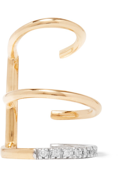 Laurel Blanc 14-karat Gold, Rhodium-plated And Diamond Ear Cuff - one size Maria Black