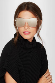 Jimmy Choo Mask square-frame Swarovski crystal-embellished mirrored sunglasses