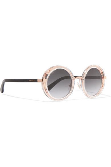 Round-frame Embellished Rose Gold-tone And Acetate Sunglasses - one size Jimmy Choo London LxxrPpZ