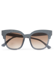 Jimmy Choo Cat-eye glittered acetate sunglasses