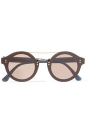 Round-frame glittered acetate and gold-tone sunglasses