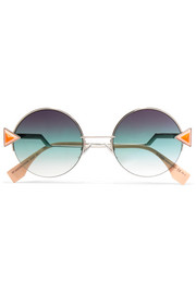Stud-embellished palladium-tone and acetate round sunglasses