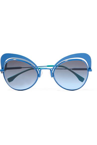 Fendi - Butterfly-frame Metal Sunglasses - Blue at NET-A-PORTER