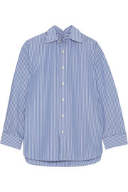Balenciaga Oversized striped cotton-blend poplin shirt