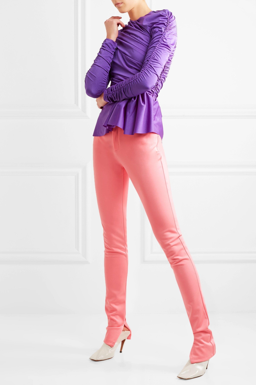 Balenciaga Gathered satin-jersey peplum  top