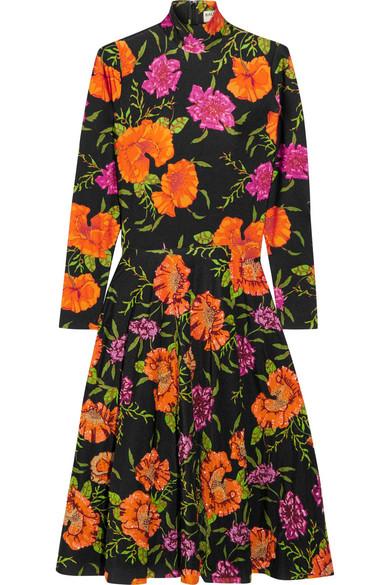Balenciaga - Ice Skater Embellished Floral-print Spandex Dress - Black