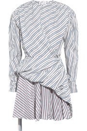 Balenciaga Gathered wrap-effect striped jacquard mini dress