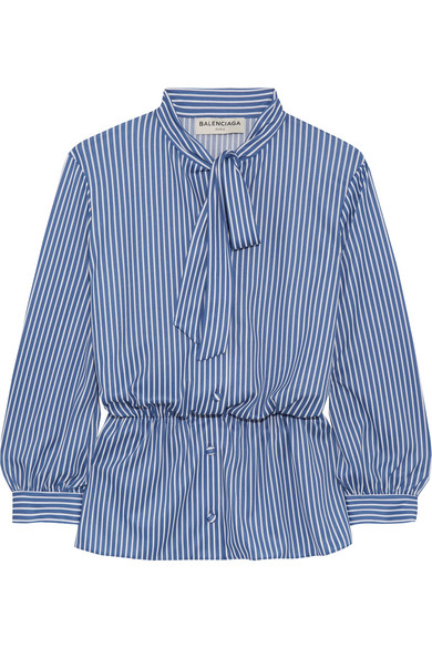 Balenciaga - Lavalliere Pussy-bow Striped Stretch-jersey Shirt - Blue