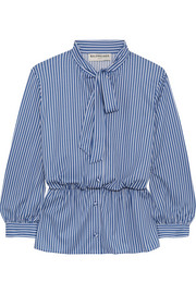 Balenciaga Lavalliere pussy-bow striped stretch-jersey shirt